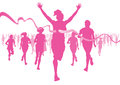 Illustration women running race to raise awareness cancer Royalty Free Stock Photos
