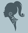 Illustration of women silhouette blue icon