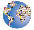 Illustration of world with children s faces Royalty Free Stock Photos