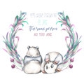 Illustration, wreath with two watercolor pandas, pink and purple plants