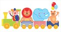 Illustration wuth circus train animals clown Royalty Free Stock Image