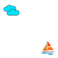 An illustration of a yacht and clouds on white background