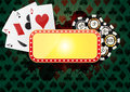Illustration of yellow banner for casino with green background Royalty Free Stock Image