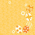 Illustration yellow easter background elaborately decorated eggs spring flowers copy space Royalty Free Stock Photography