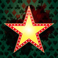 Illustration of yellow star banner for casino with green background Stock Image