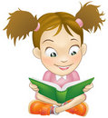 Illustration young girl reading book Stock Photography