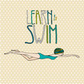 Illustration of a young girl swimming with learn to swim text Royalty Free Stock Photo