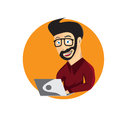 illustration of young hipster man with laptop Royalty Free Stock Photo