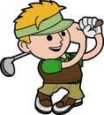 Illustration young man golfing Stock Photos