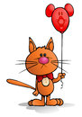 Illustration young orange cat holding red balloon isolated white background Stock Photos