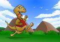Illustration young reptile dinosaur run nature background Stock Photos