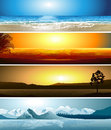 Illustrations of 4 geographical locations Royalty Free Stock Image