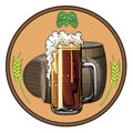 Illustrations on a beer tag, beer mugs and barrels