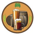 Illustrations on the beer tag, beer mugs and barrels