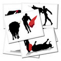 Illustrations with a bullfighter in Spain Stock Images