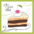 Illustrations of the cake chocolate with cherry Royalty Free Stock Photo