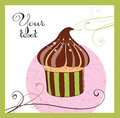 Illustrations of the cake chocolate with cherry Stock Images
