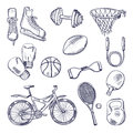 Illustrations of different sports fitness equipment. Vector doodle icons set