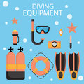 The illustrations are dive equipment icons.