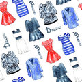 Illustrations of dresses. Seamless pattern on white background.