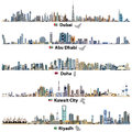Illustrations of Dubai, Abu Dhabi, Doha, Riyadh and Kuwait city skylines with flags and maps