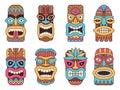 Illustrations of hawaiian tiki god. Tribal totem