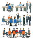 Illustrations of office meetings and presentations