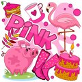 Illustrations of pink color.