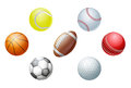 Illustrations of sports ball icons including cricket ball football and soccer ball baseball ball and tennis ball golf ball and Royalty Free Stock Photos