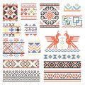 Illustrations of traditional russian culture. Geometrical ornament in ethnic style Royalty Free Stock Photo