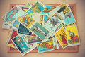 illustrative editorial Rider Waite tarot cards in vintage tone Royalty Free Stock Photo