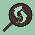 Illustrative pan with fish in turquoise color Stock Photo