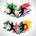 Illustraton of soccer players representing differe vector different countries while tackling the ball Royalty Free Stock Image