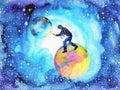 Illustrator artist man painting world moon universe abstract Royalty Free Stock Photo