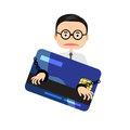Illustrator Business man burden with credit card