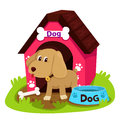 Illustrator dog and home Royalty Free Stock Photo