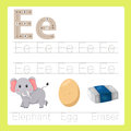 Illustrator of e exercise a z cartoon vocabulary for kid Stock Photo