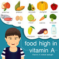 Illustrator of food high in vitamin a Royalty Free Stock Photo