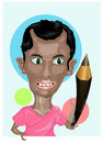 Illustrator holding pencil Royalty Free Stock Images