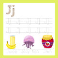 Illustrator of j exercise a z cartoon vocabulary for kid Royalty Free Stock Image