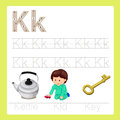Illustrator of k exercise a z cartoon vocabulary for kid Royalty Free Stock Photos