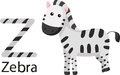 Illustrator of z with zebra vector font Stock Photo
