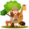 Illustrator of zoo keeper women Royalty Free Stock Photo