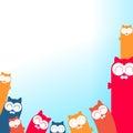 Illustrazione dei gatti del fumetto con il posto per il vostro testo Fotografia Stock