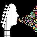 Illustrazione della testa motrice della chitarra Fotografie Stock Libere da Diritti
