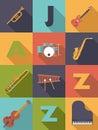 Illustrazione di vettore di jazz music poster flat design Fotografia Stock Libera da Diritti