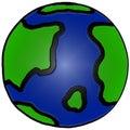 Illustrazione disegnata a mano sveglia della terra Fotografia Stock Libera da Diritti