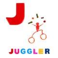 Illustrerat alfabet illustration av bokstaven j Royaltyfri Bild
