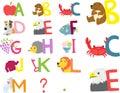 Illustrerat alfabet a m Royaltyfri Bild