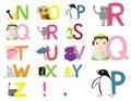 Illustrerat alfabet n z Arkivbild